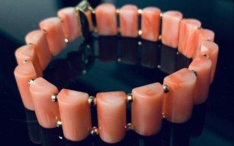 KN029【数量限定】ピンク珊瑚 ブレスレット【室戸産宝石サンゴ】