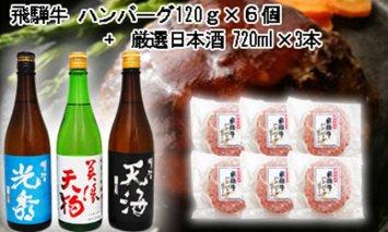 7-7 飛騨牛 ハンバーグ120g×6個入り + 厳選日本酒720ml×3本