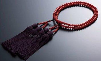 KN008赤サンゴ 本連数珠(赤サンゴ5.5mm玉使用)