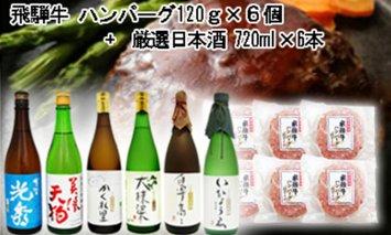 9-7 飛騨牛 ハンバーグ120g×6個入り + 厳選日本酒720ml×6本
