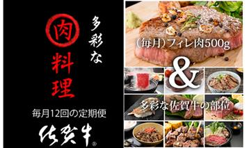 J100-002【定期便】 (12ヶ月連続お届け) 佐賀牛 多彩なお肉料理セット