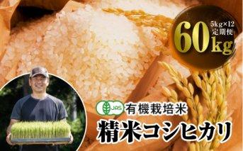 令和3年産 <定期便>JAS認定 有機栽培米 コシヒカリ 精米 5kg×12回 (1カ月に1回)