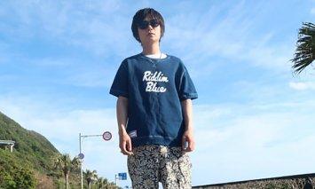 AI002室戸無農薬藍で染めた100%スウェットTシャツ
