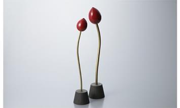 【L-583】木用美工房 朱漆蓮蕾オブジェ2個セット [高島屋選定品]