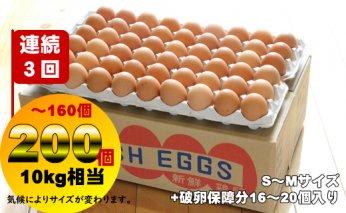 D40-038 【定期便】業務用S~Mサイズ鶏卵200個~160個(10kg)連続3回