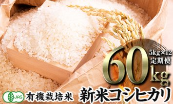 令和2年産新米 <定期便>JAS認定 有機栽培米 コシヒカリ 精米 5kg×12回 (1カ月に1回)