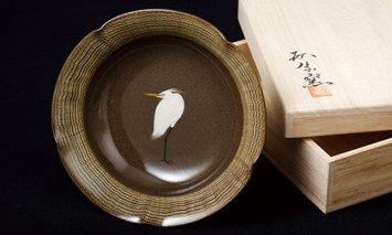X850 現川焼臥牛窯 白鷺文菓子鉢