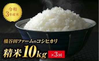 令和3年産 <定期便> コシヒカリ 精米 10kg×3回 (2カ月に1回)
