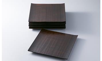 【L-582】木用美工房 栗拭漆七寸皿5枚組 [高島屋選定品]