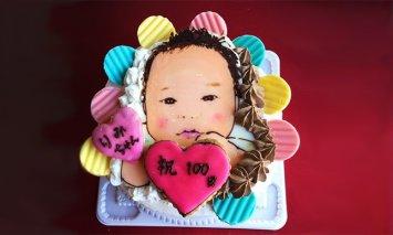 似顔絵ケーキ(生クリームとチョコ生クリームのハーフ&ハーフケーキ)