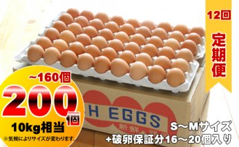 G160-102 【定期便】 業務用S~Mサイズ鶏卵200個~160個(10kg)12回