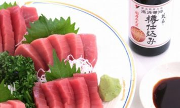 AZ6001_■養殖本鮪赤身トロ500gと湯浅醤油200mlのセット【湯浅町×串本町】