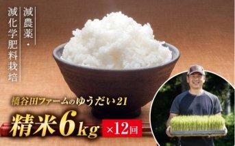 令和2年産 <定期便> 減農薬・減化学肥料栽培 ゆうだい21 精米 6kg×12回(1カ月に1回)