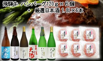 10-7 飛騨牛 ハンバーグ120g×6個入り + 厳選日本酒1.8L×6本