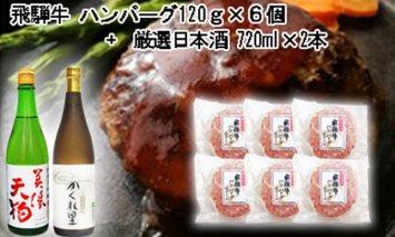 5-7 飛騨牛 ハンバーグ120g×6個入り + 厳選日本酒720ml×2本