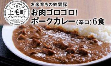 お米育ちの錦雲豚 お肉ゴロゴロ!ポークカレー(辛口)6食