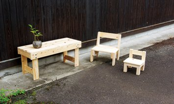 X885 長崎県産天然ひのきの椅子(花台)